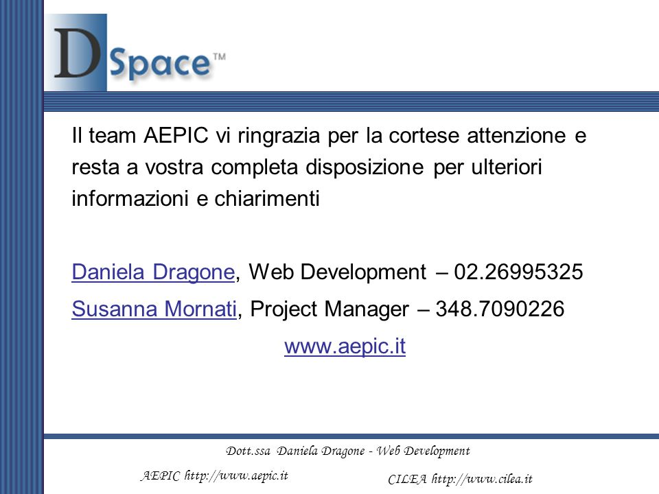 Dott.ssa Daniela Dragone - Web Development