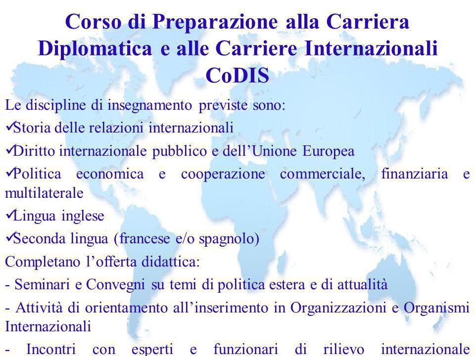 Corso di Preparazione alla Carriera Diplomatica e alle Carriere Internazionali CoDIS