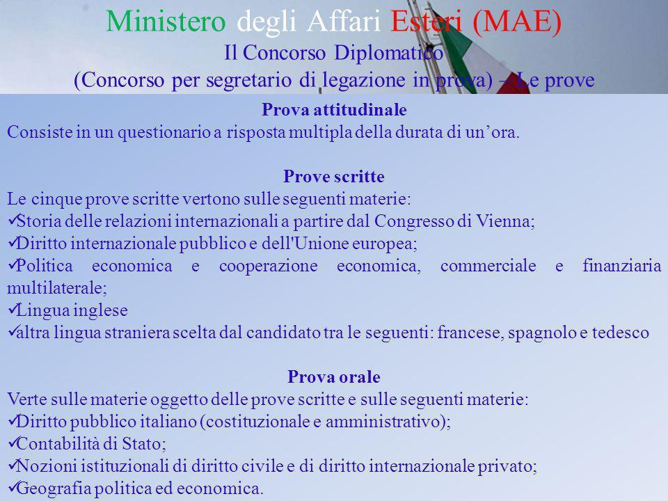 Ministero degli Affari Esteri (MAE) Il Concorso Diplomatico (Concorso per segretario di legazione in prova) – Le prove