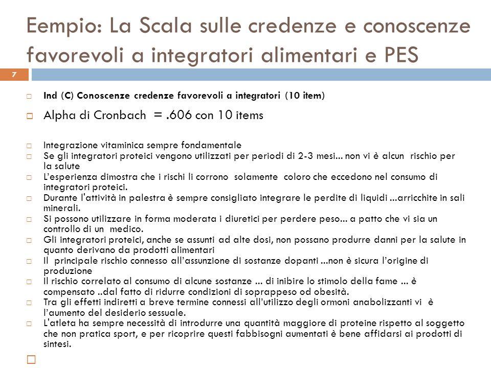 Eempio: La Scala sulle credenze e conoscenze favorevoli a integratori alimentari e PES