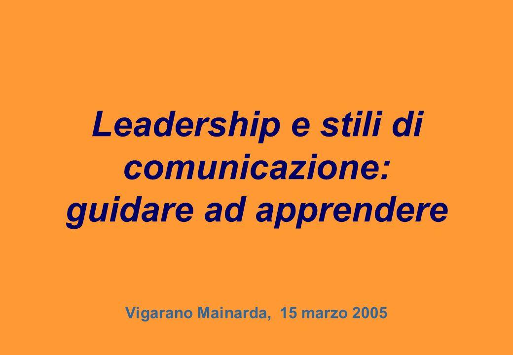 Leadership e stili di comunicazione: guidare ad apprendere Vigarano Mainarda, 15 marzo 2005