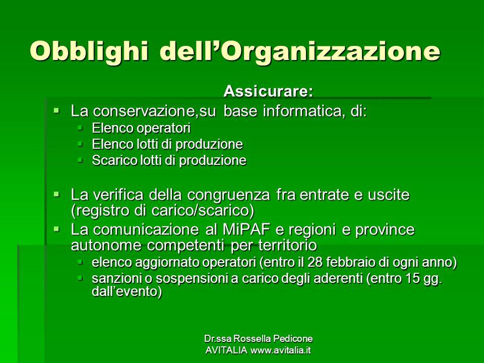 Obblighi dell'Organizzazione