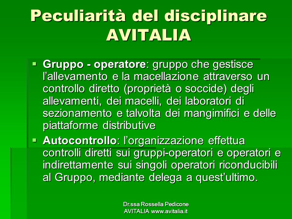 Peculiarità del disciplinare AVITALIA