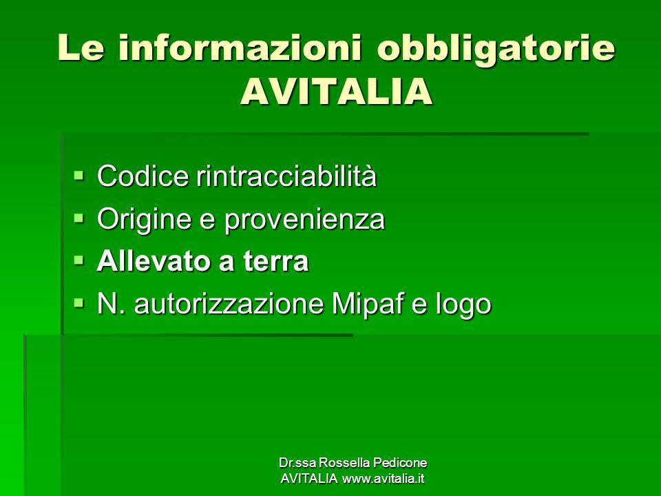 Le informazioni obbligatorie AVITALIA