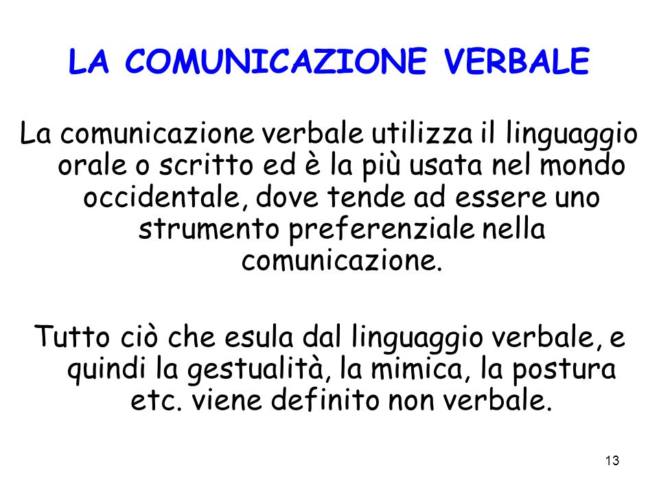 LA COMUNICAZIONE VERBALE
