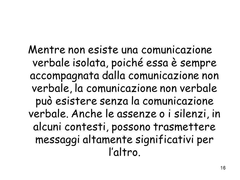 Mentre non esiste una comunicazione verbale isolata, poiché essa è sempre accompagnata dalla comunicazione non verbale, la comunicazione non verbale può esistere senza la comunicazione verbale.