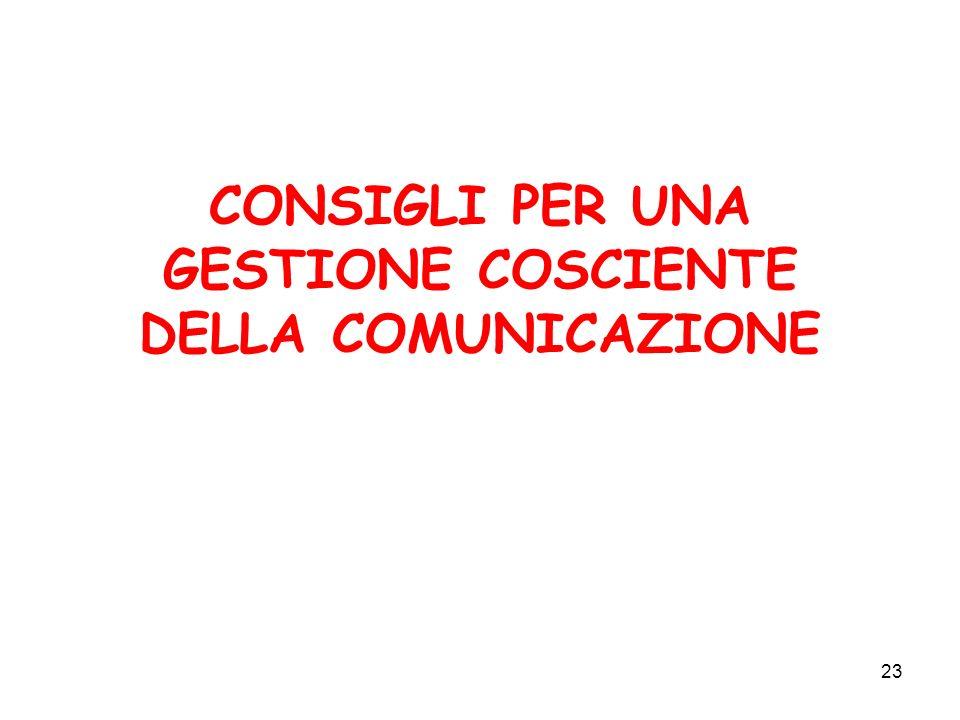 CONSIGLI PER UNA GESTIONE COSCIENTE DELLA COMUNICAZIONE
