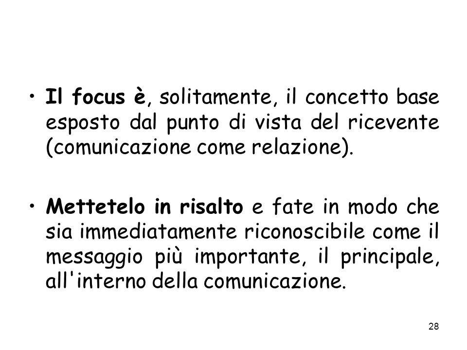Il focus è, solitamente, il concetto base esposto dal punto di vista del ricevente (comunicazione come relazione).