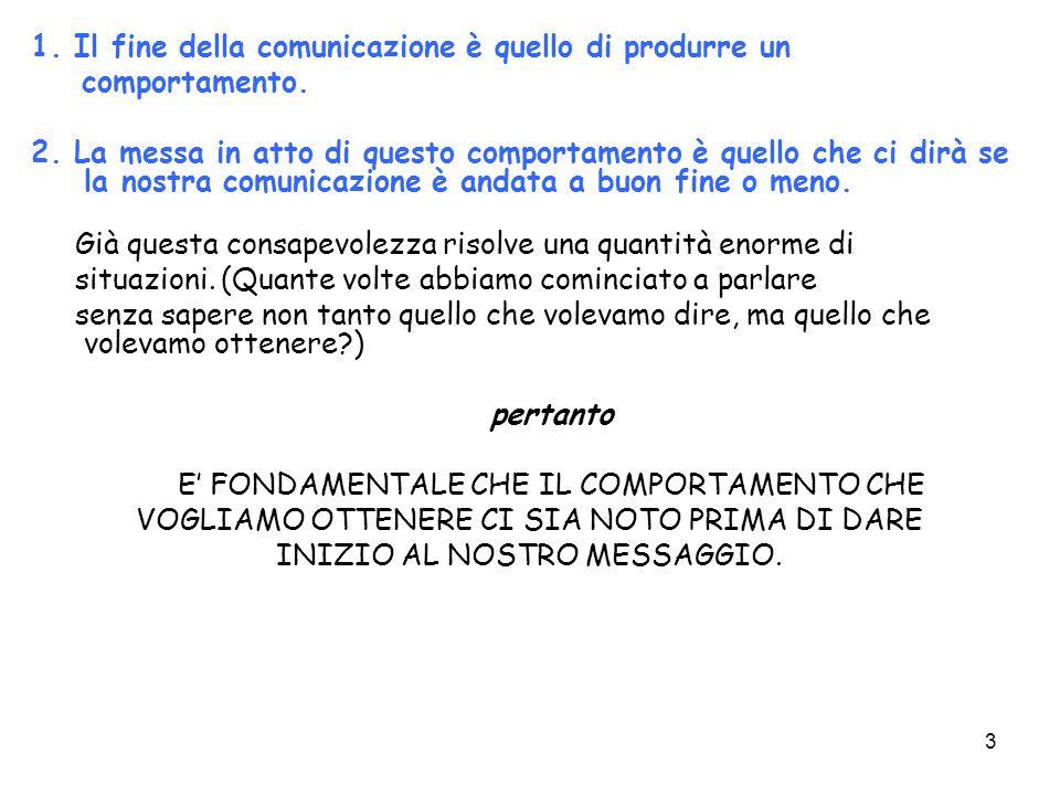1. Il fine della comunicazione è quello di produrre un comportamento.