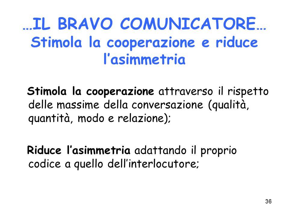 …IL BRAVO COMUNICATORE… Stimola la cooperazione e riduce l'asimmetria