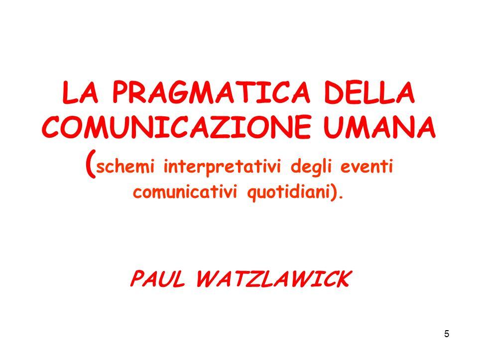 LA PRAGMATICA DELLA COMUNICAZIONE UMANA (schemi interpretativi degli eventi comunicativi quotidiani).