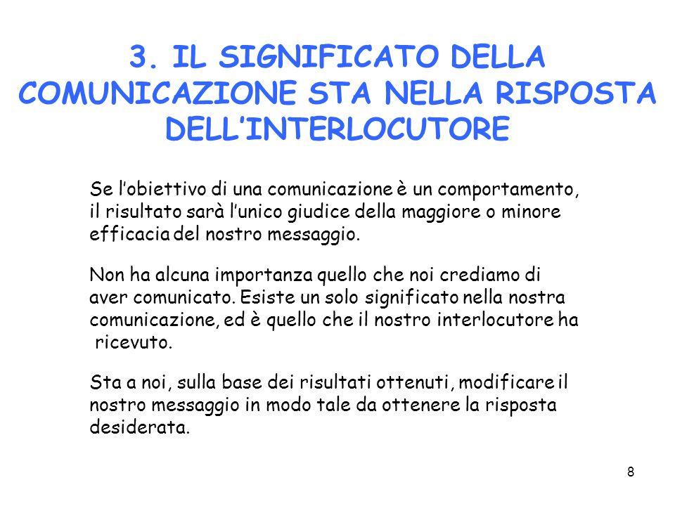 3. IL SIGNIFICATO DELLA COMUNICAZIONE STA NELLA RISPOSTA DELL'INTERLOCUTORE