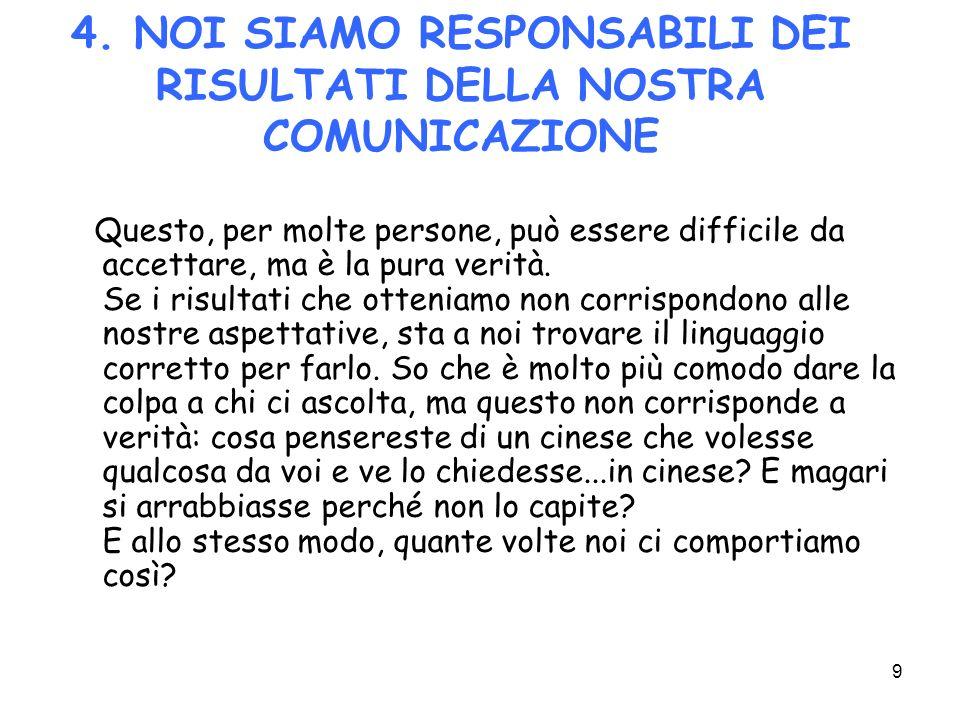 4. NOI SIAMO RESPONSABILI DEI RISULTATI DELLA NOSTRA COMUNICAZIONE