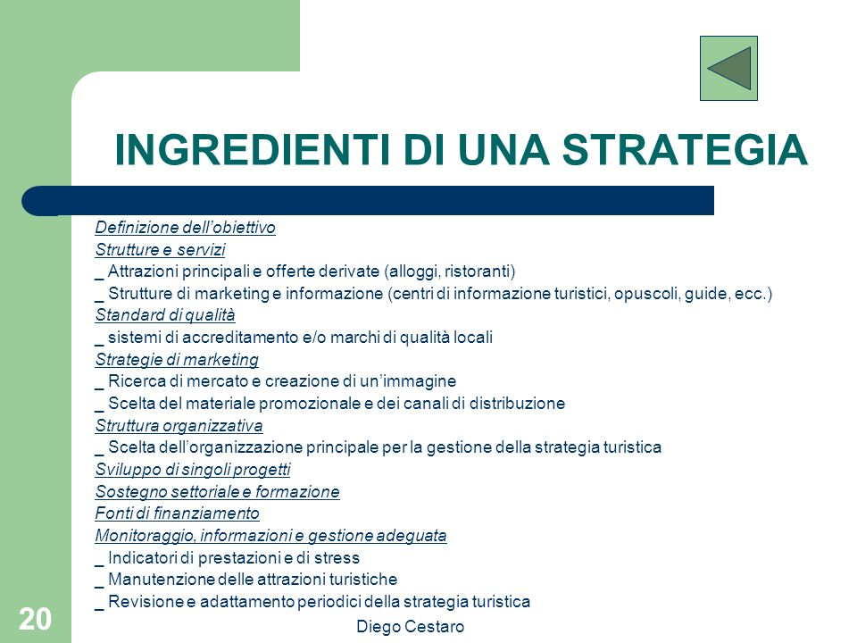 INGREDIENTI DI UNA STRATEGIA