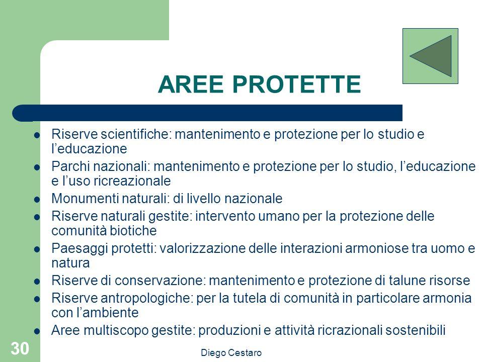 AREE PROTETTE Riserve scientifiche: mantenimento e protezione per lo studio e l'educazione.