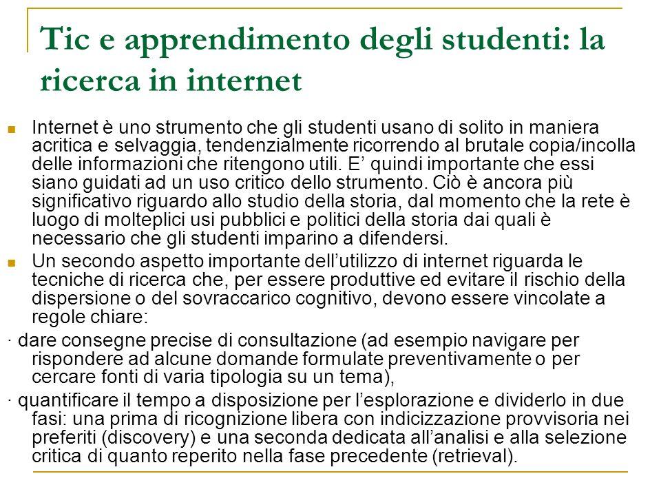 Tic e apprendimento degli studenti: la ricerca in internet