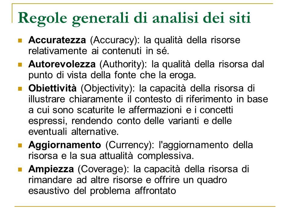 Regole generali di analisi dei siti