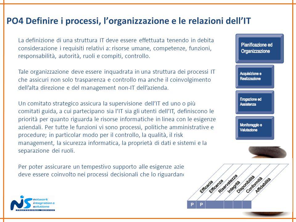 PO4 Definire i processi, l'organizzazione e le relazioni dell'IT