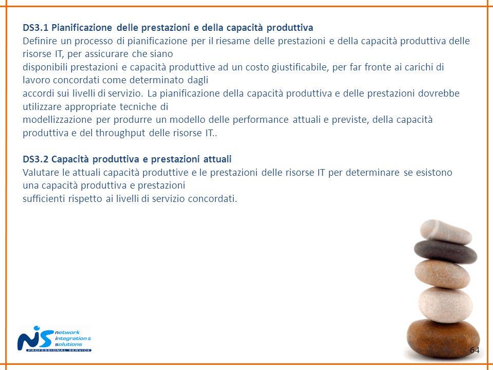 DS3.1 Pianificazione delle prestazioni e della capacità produttiva