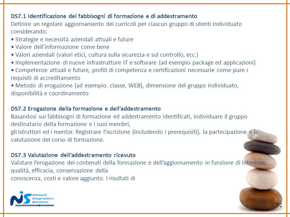 DS7.1 Identificazione dei fabbisogni di formazione e di addestramento