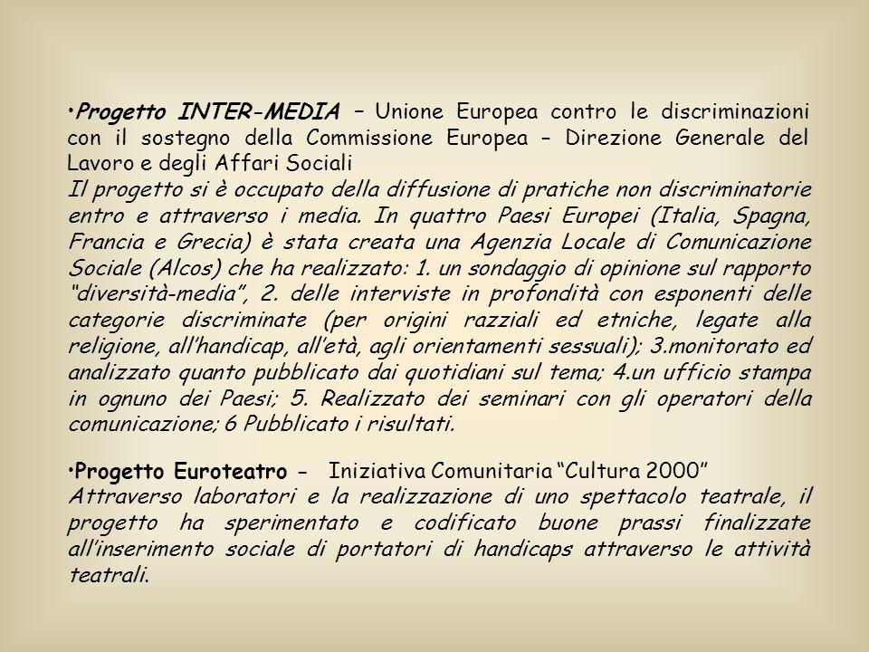 Progetto INTER-MEDIA – Unione Europea contro le discriminazioni con il sostegno della Commissione Europea – Direzione Generale del Lavoro e degli Affari Sociali