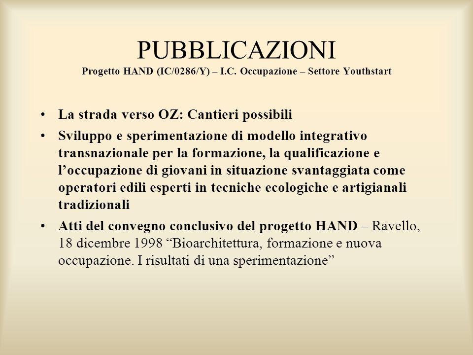PUBBLICAZIONI Progetto HAND (IC/0286/Y) – I. C