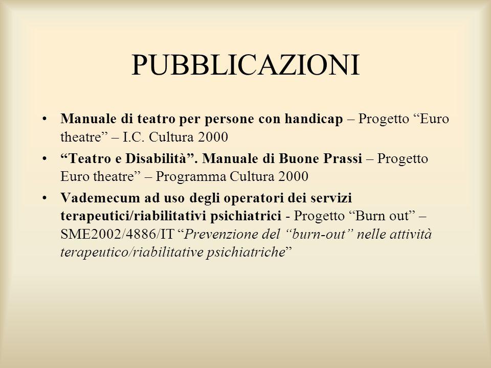 PUBBLICAZIONI Manuale di teatro per persone con handicap – Progetto Euro theatre – I.C. Cultura 2000.