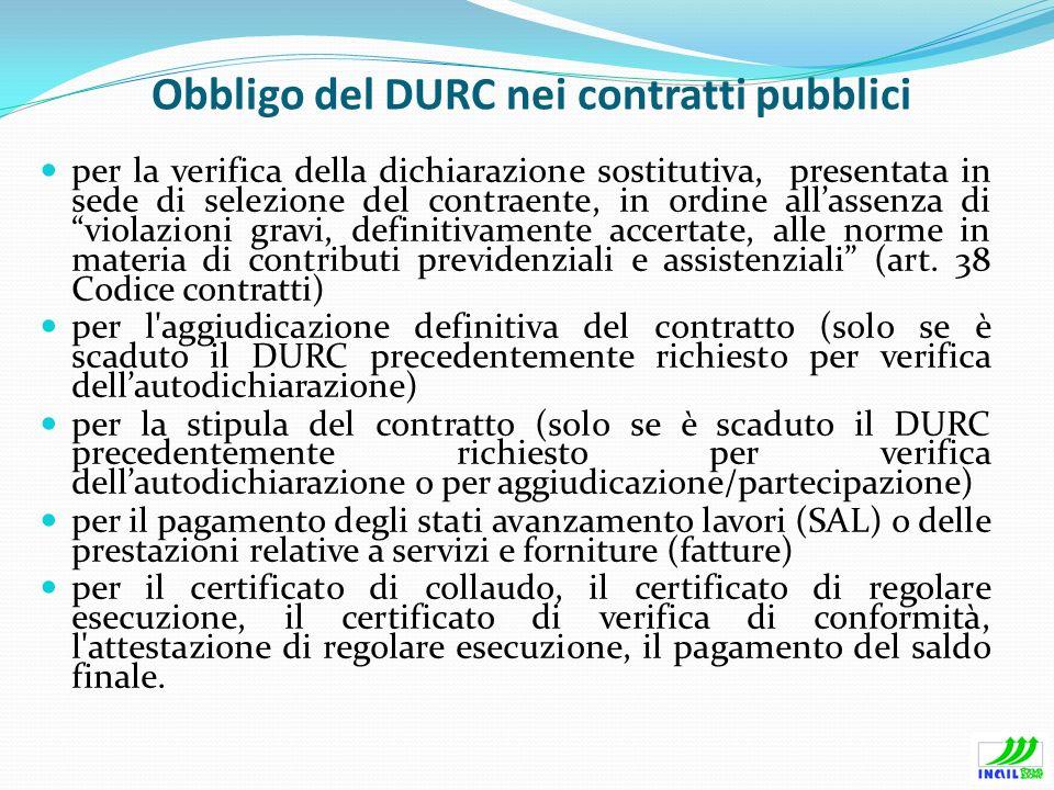 Obbligo del DURC nei contratti pubblici