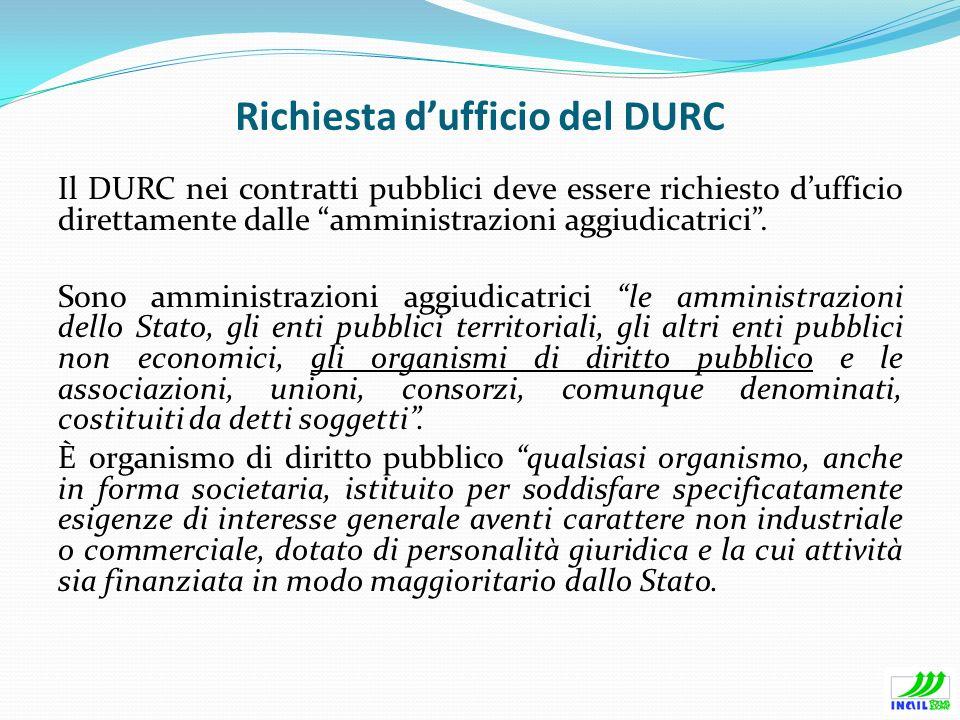 Richiesta d'ufficio del DURC