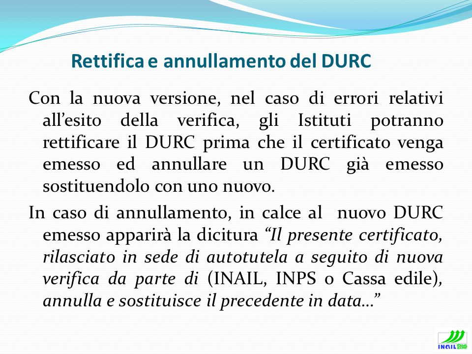 Rettifica e annullamento del DURC