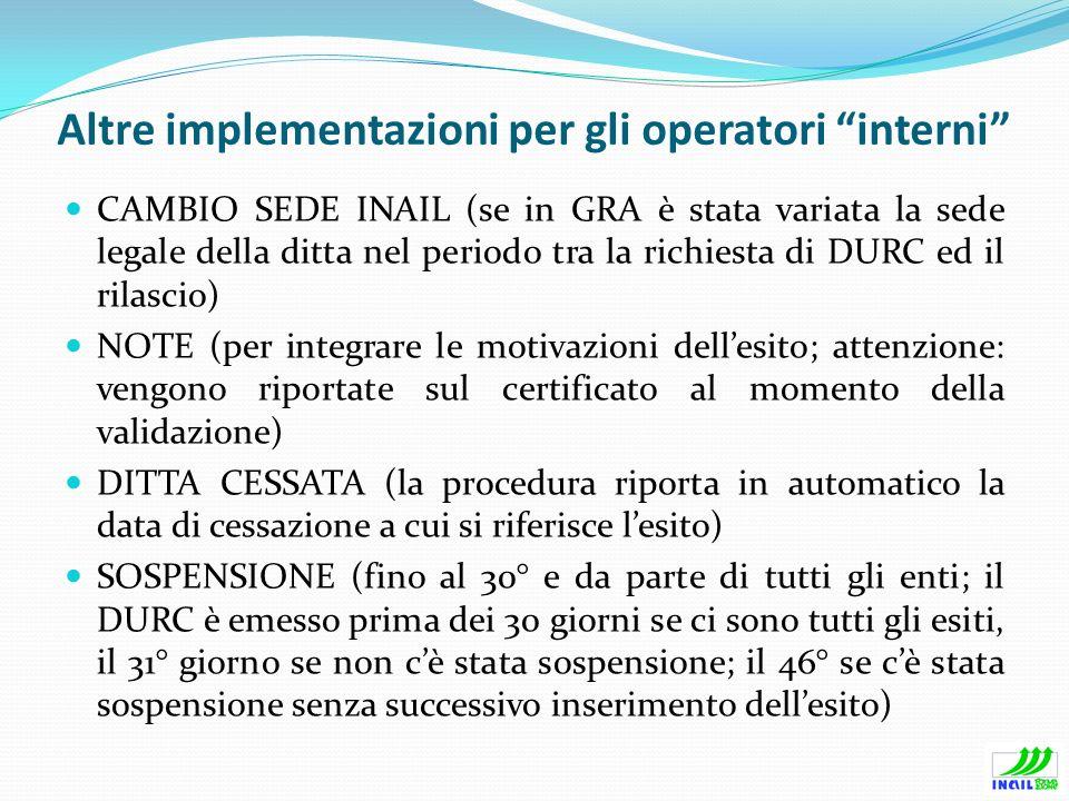 Altre implementazioni per gli operatori interni