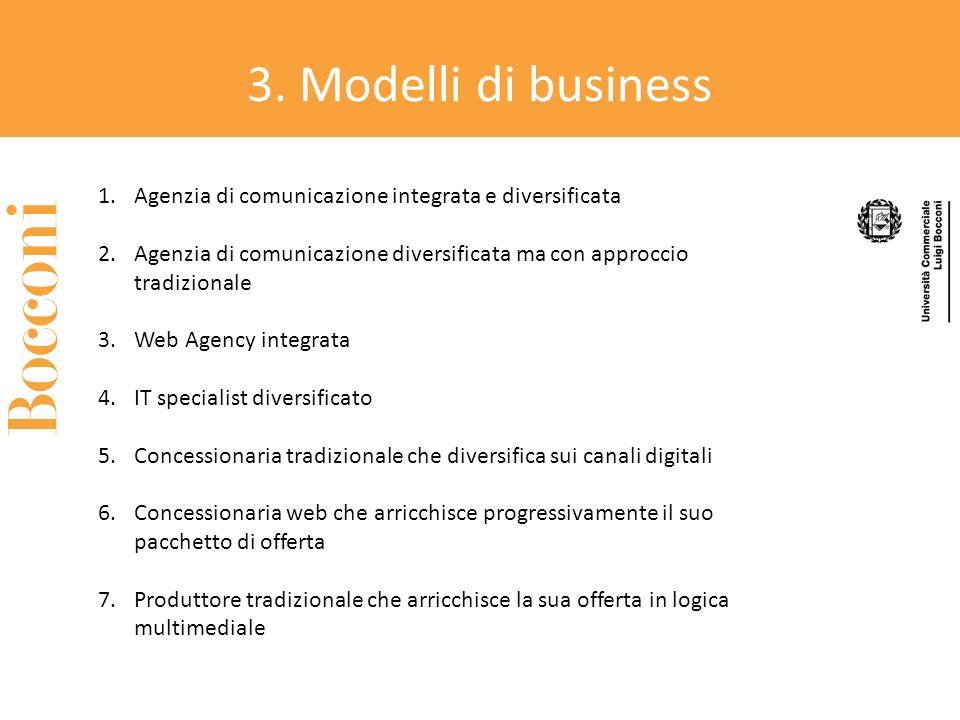 3. Modelli di business Agenzia di comunicazione integrata e diversificata. Agenzia di comunicazione diversificata ma con approccio tradizionale.