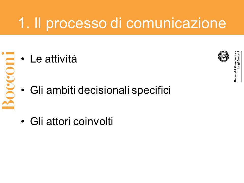 1. Il processo di comunicazione
