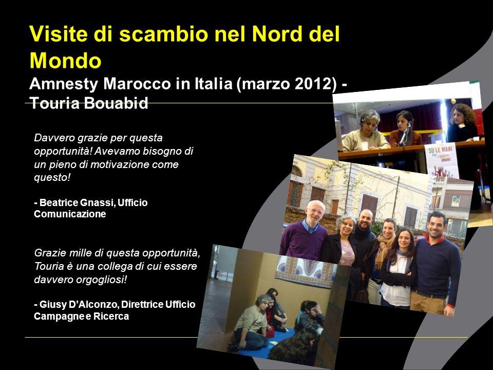 Visite di scambio nel Nord del Mondo Amnesty Marocco in Italia (marzo 2012) - Touria Bouabid