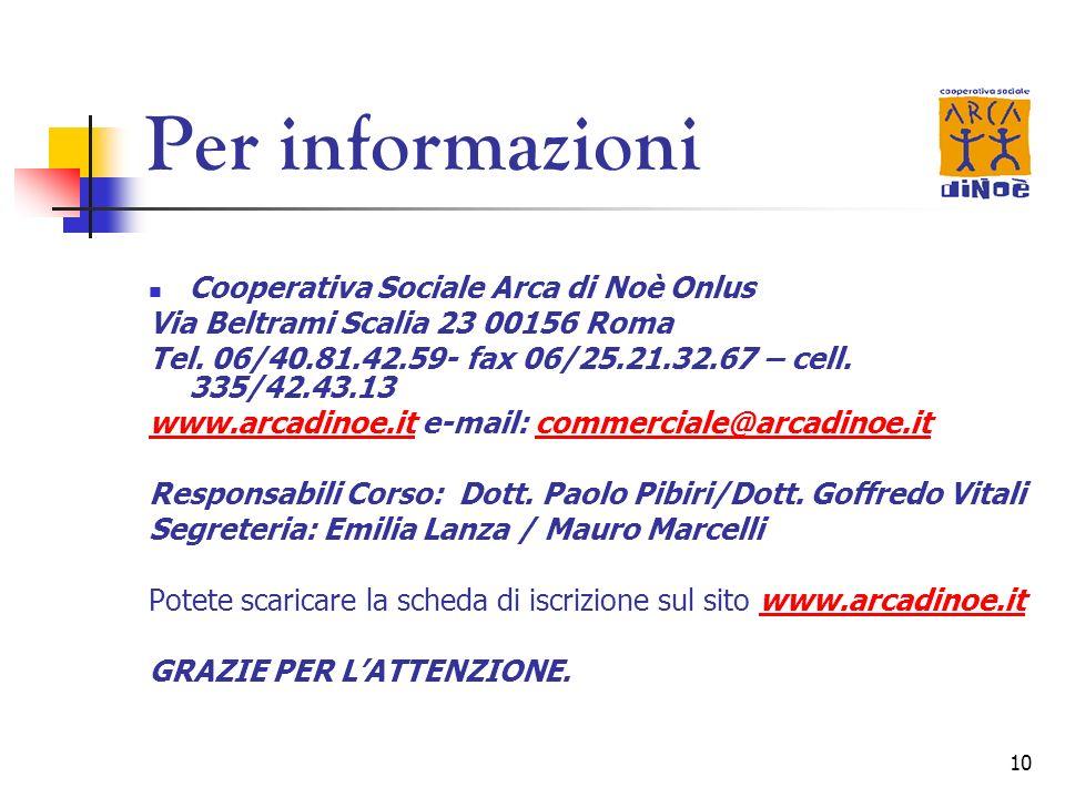 Per informazioni Cooperativa Sociale Arca di Noè Onlus