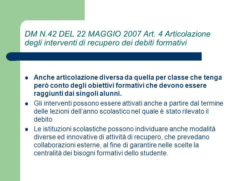 DM N.42 DEL 22 MAGGIO 2007 Art. 4 Articolazione degli interventi di recupero dei debiti formativi