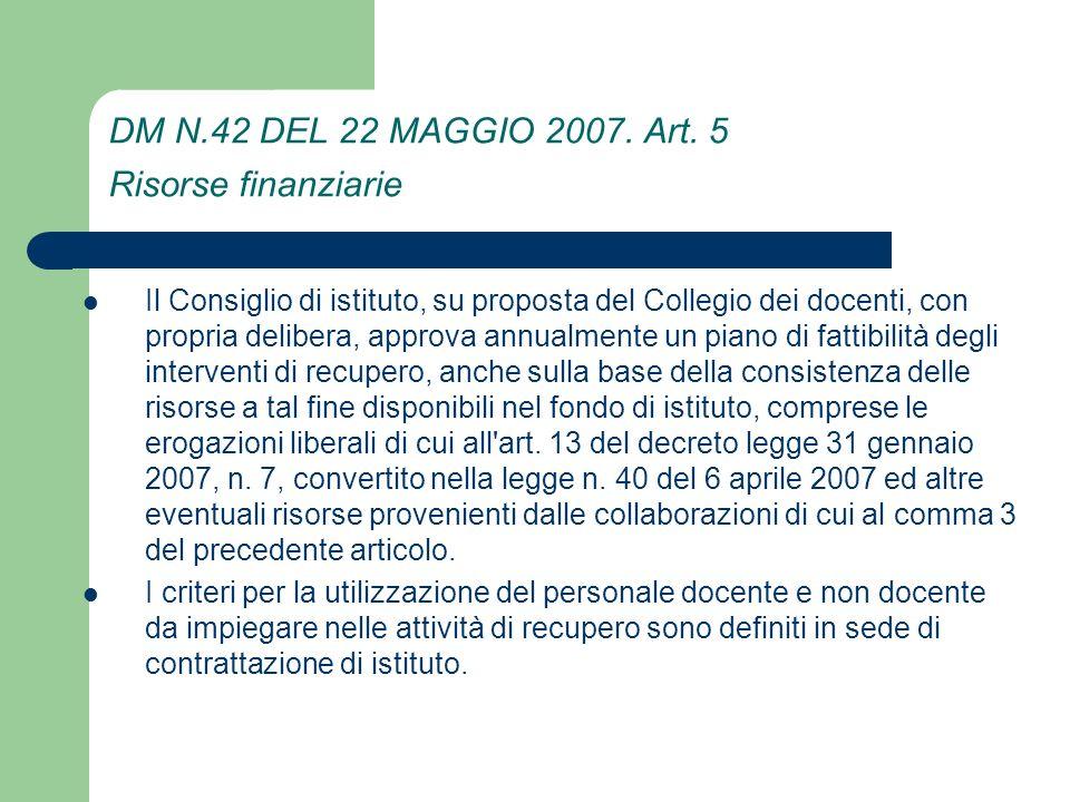 DM N.42 DEL 22 MAGGIO 2007. Art. 5 Risorse finanziarie