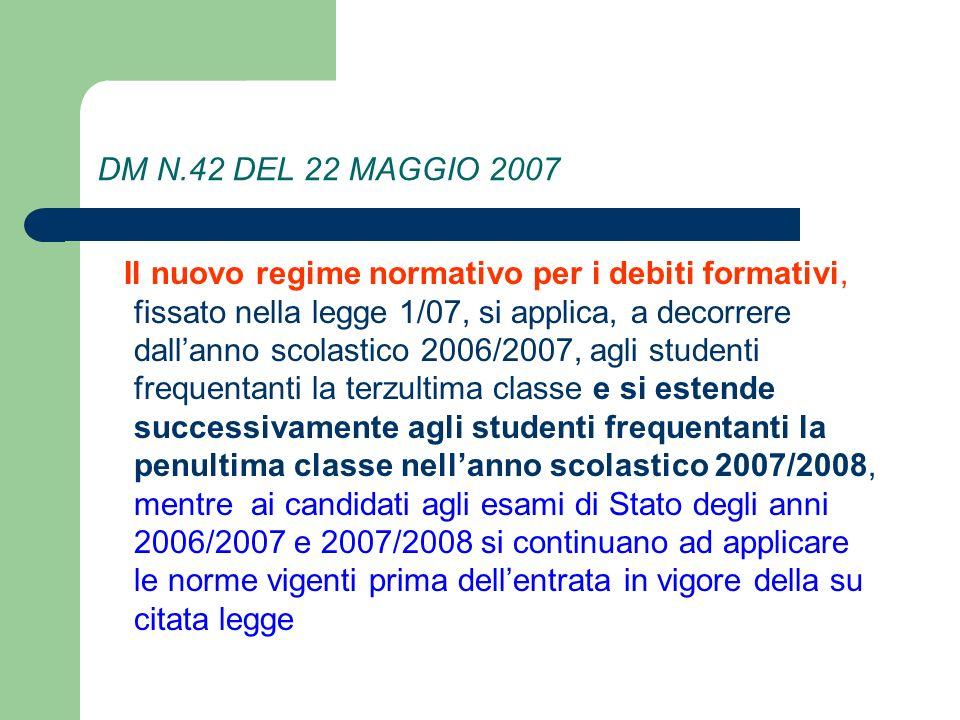DM N.42 DEL 22 MAGGIO 2007