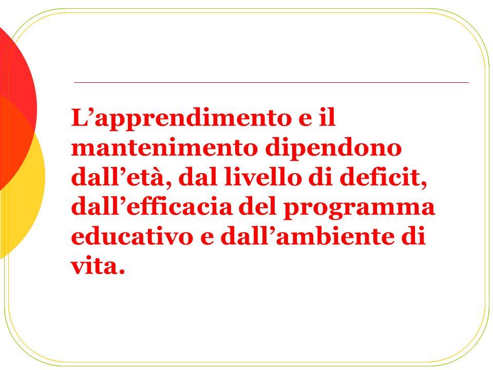 L'apprendimento e il mantenimento dipendono dall'età, dal livello di deficit, dall'efficacia del programma educativo e dall'ambiente di vita.