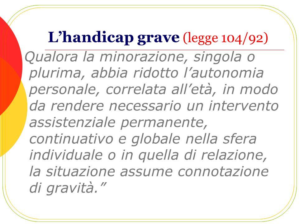 L'handicap grave (legge 104/92)