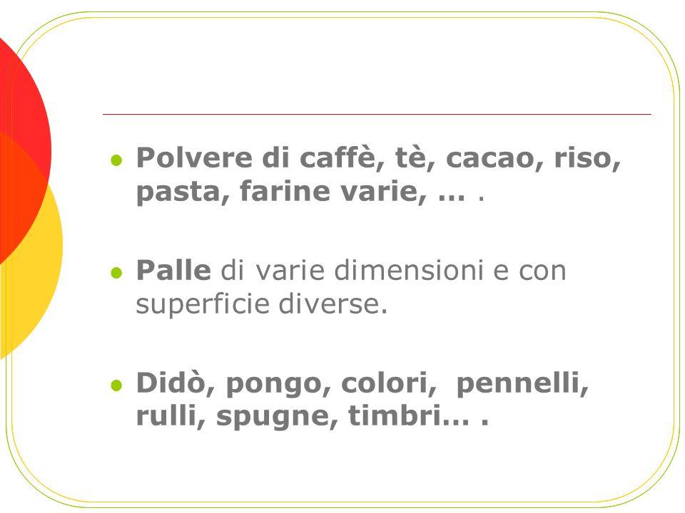 Polvere di caffè, tè, cacao, riso, pasta, farine varie, … .