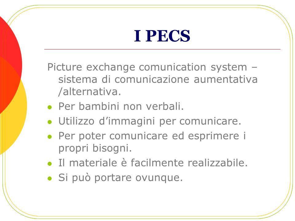 I PECS Picture exchange comunication system – sistema di comunicazione aumentativa /alternativa. Per bambini non verbali.