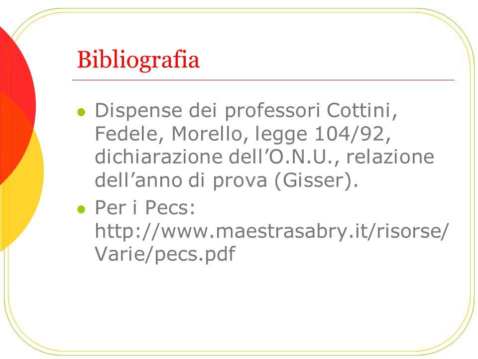 Bibliografia Dispense dei professori Cottini, Fedele, Morello, legge 104/92, dichiarazione dell'O.N.U., relazione dell'anno di prova (Gisser).
