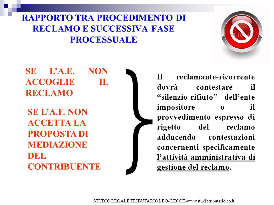 RAPPORTO TRA PROCEDIMENTO DI RECLAMO E SUCCESSIVA FASE PROCESSUALE