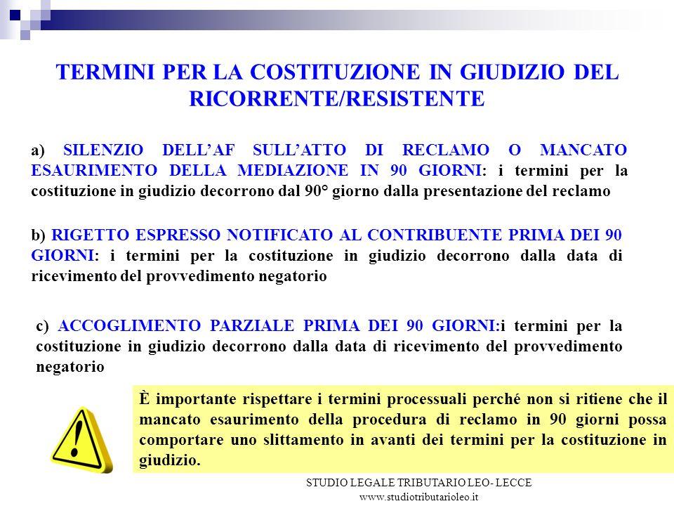 TERMINI PER LA COSTITUZIONE IN GIUDIZIO DEL RICORRENTE/RESISTENTE