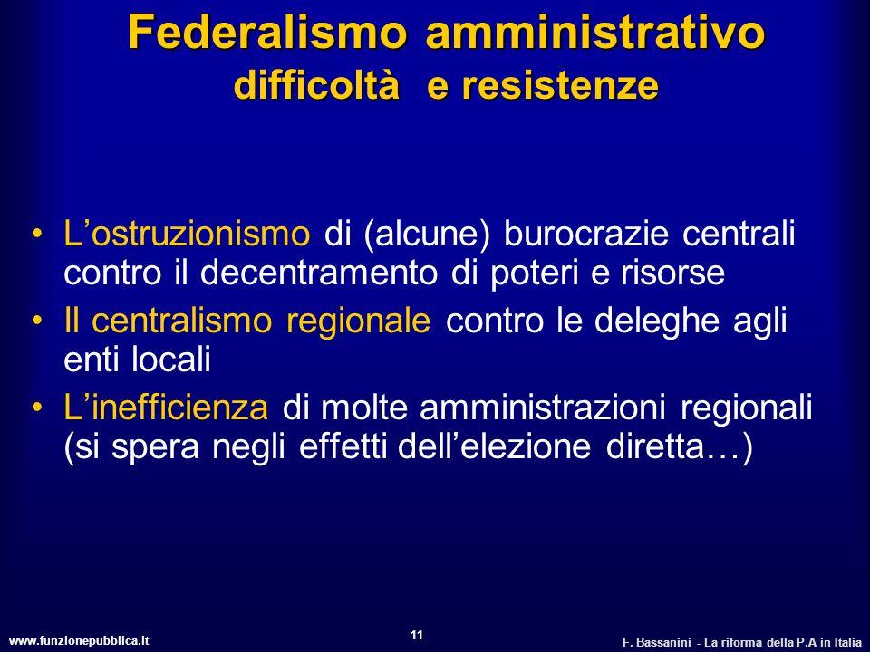 Federalismo amministrativo difficoltà e resistenze