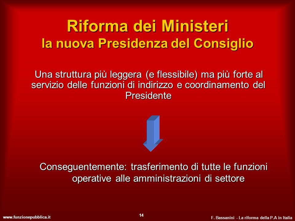 Riforma dei Ministeri la nuova Presidenza del Consiglio