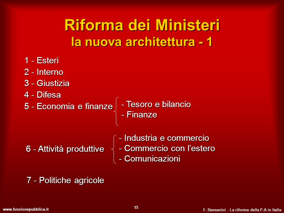 Riforma dei Ministeri la nuova architettura - 1