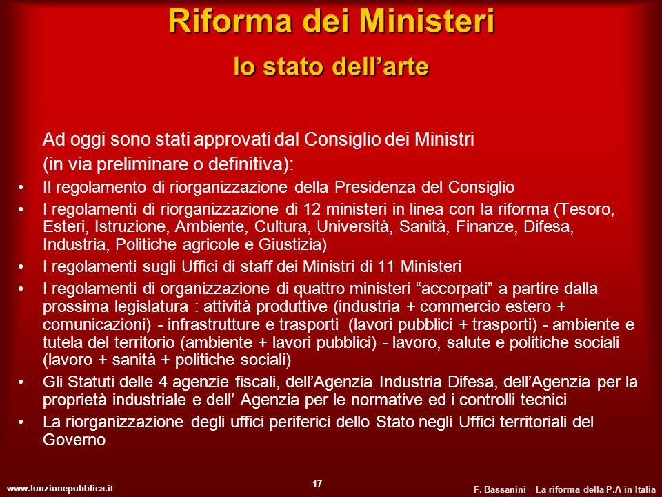 Riforma dei Ministeri lo stato dell'arte