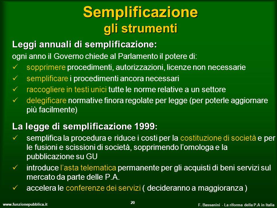 Semplificazione gli strumenti